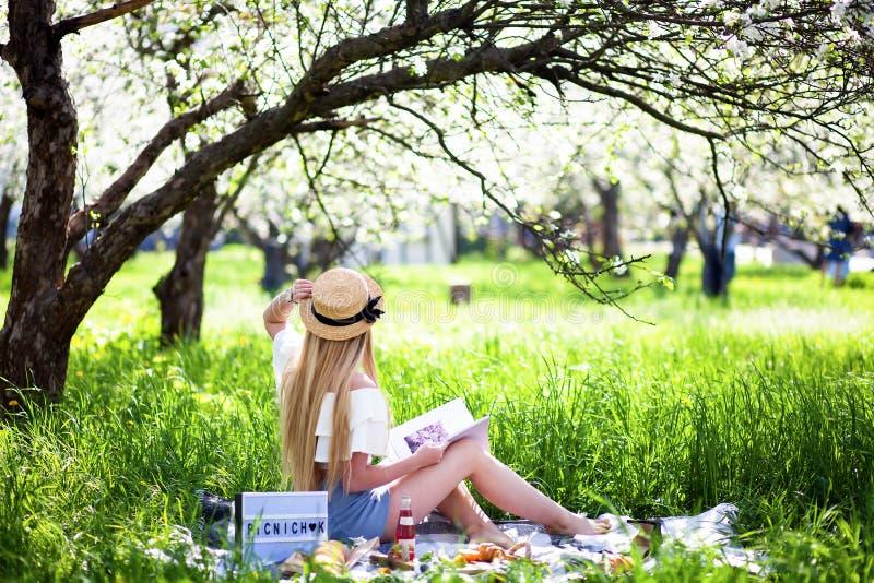 有长的头发的年轻性感的白肤金发的女孩有草帽的 去野餐在休息在室外的新鲜空气可爱的女孩在晴朗的早晨vint 库存照片