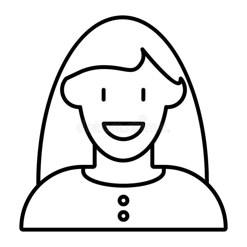 有长的头发的微笑的妇女具体化稀薄排行象 用户概况在白色隔绝的传染媒介例证 女孩概述 库存例证