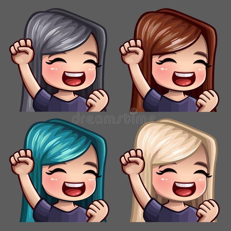 有长的头发的情感象微笑愉快的女性社会网络和贴纸的 向量例证