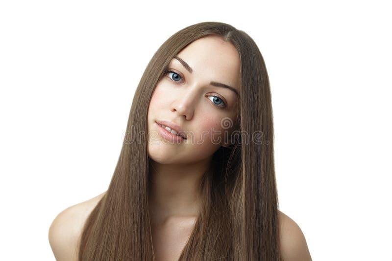 有长的头发的深色的女孩 库存照片