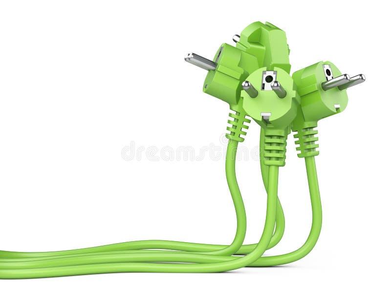 有长的导线的小组绿色电火花塞 皇族释放例证