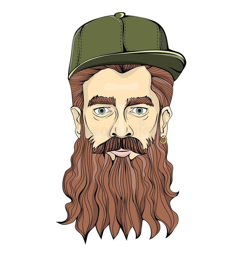 有长的戴着在白色背景的胡子和金黄耳环的行家人绿色帽子 顶头图表图象 皇族释放例证