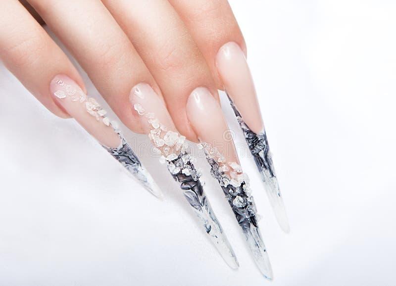 有长的指甲盖的人手指和美丽 库存图片