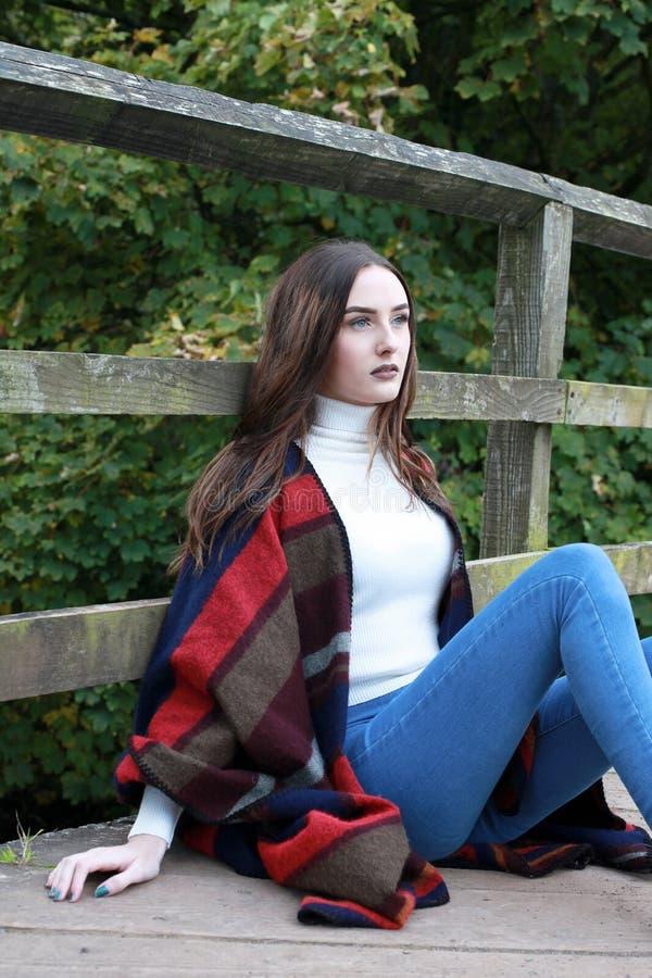 有长的棕色头发的美丽的少妇坐桥梁 免版税图库摄影
