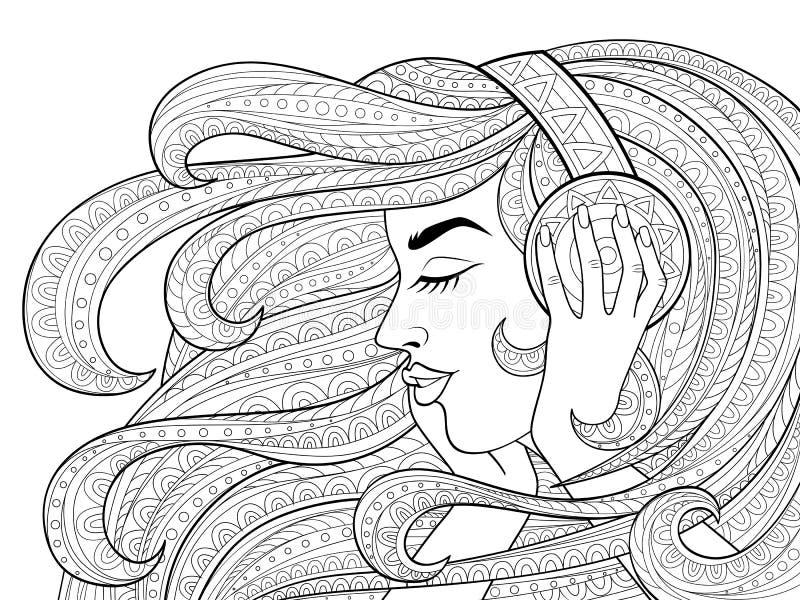 有长的波浪发的年轻美丽的女孩听到在耳机的音乐的 纹身花刺或成人antistress着色页 黑色和whi 向量例证