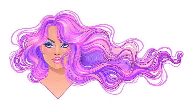 有长的波浪紫色的美丽的妇女染流动在w的头发 向量例证