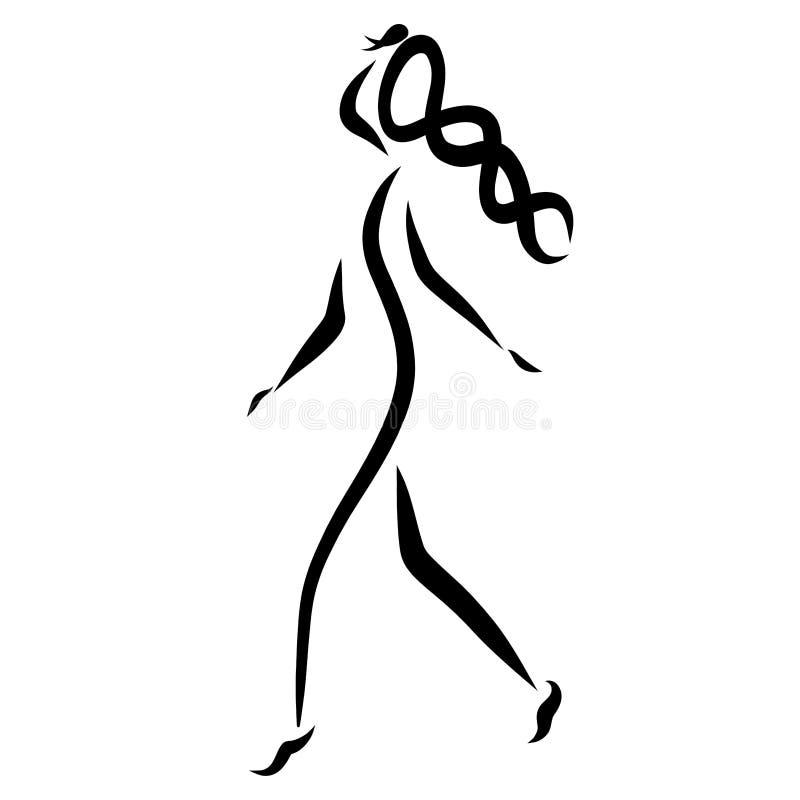 有长的猪尾的,黑抽象样式无忧无虑的女孩 皇族释放例证