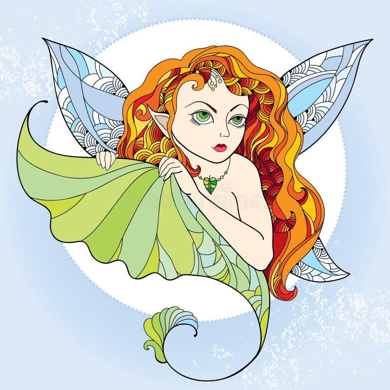 有长的红色头发和翼的神话小精灵或森林神仙在蓝色背景 神话生物系列  皇族释放例证