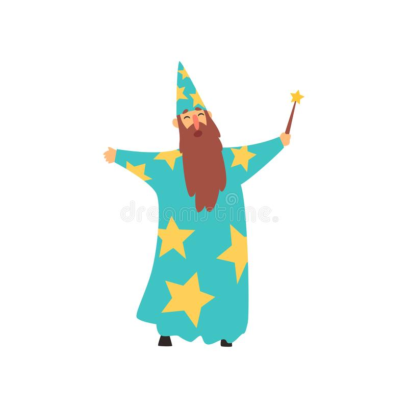 有长的胡子的快乐的人在有星和锥体帽子的蓝色巫术师服装 与不可思议的鞭子的动画片男性在手中 库存例证
