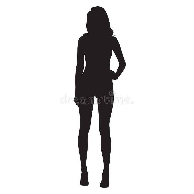 有长的腿剪影的性感的亭亭玉立的妇女 皇族释放例证