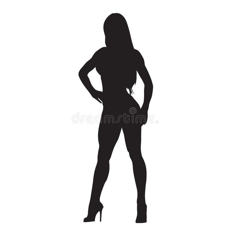 有长的腿的性感的亭亭玉立的妇女 向量例证