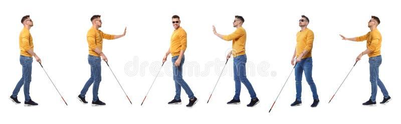 有长的藤茎的盲人走在白色的设置  免版税图库摄影