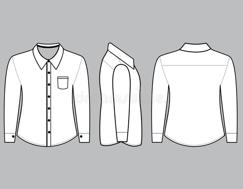 有长的袖子模板的空白的衬衣 向量例证