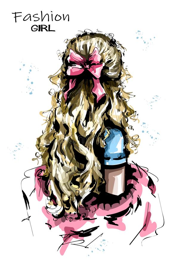 有长的金发的手拉的妇女后面 与弓的逗人喜爱的发型 时尚妇女发型 向量例证