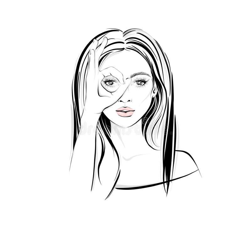 有长的黑发的美女,有横渡的她的手指和看起来通过双筒望远镜 向量例证