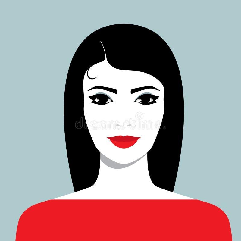 有长的黑色头发的微笑的妇女 向量例证