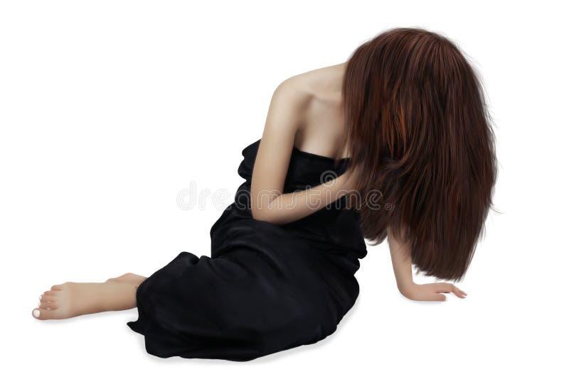 有长的头发和黑礼服的女孩 免版税库存照片