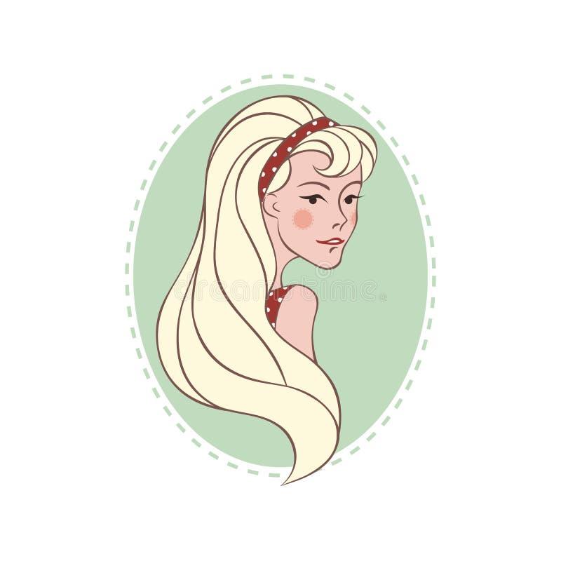 有长的头发的减速火箭的微笑的白肤金发的女孩 库存例证