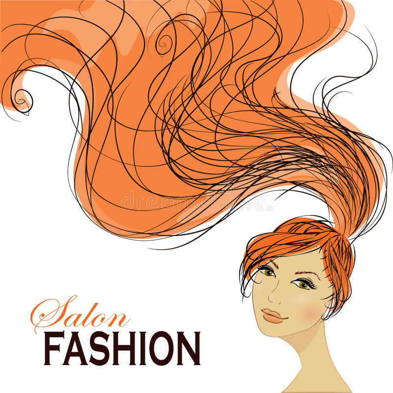 有长的头发的时尚妇女 也corel凹道例证向量 皇族释放例证