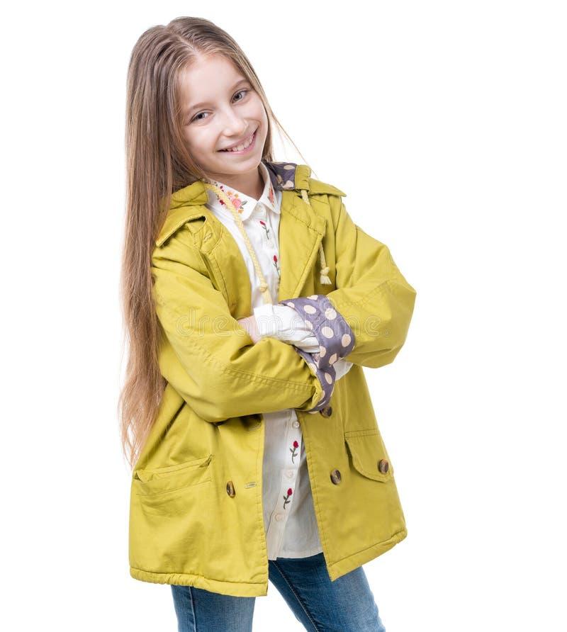 有长的头发的青春期前的女孩,被隔绝 免版税库存图片