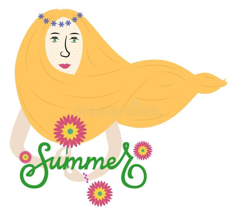 有长的黄色头发的夏天女孩 免版税库存图片