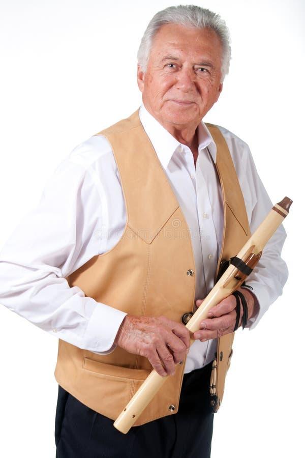 有长笛的前辈 库存图片