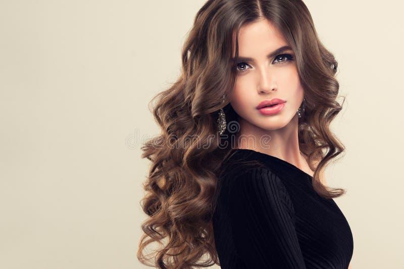 有长篇,发光和卷曲发型的棕色毛发的妇女 卷曲的头发 库存照片