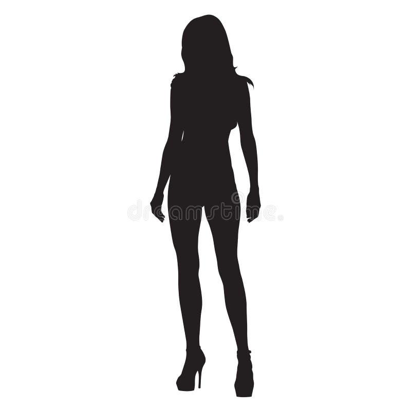 有长腿站立的性感的亭亭玉立的妇女 库存例证