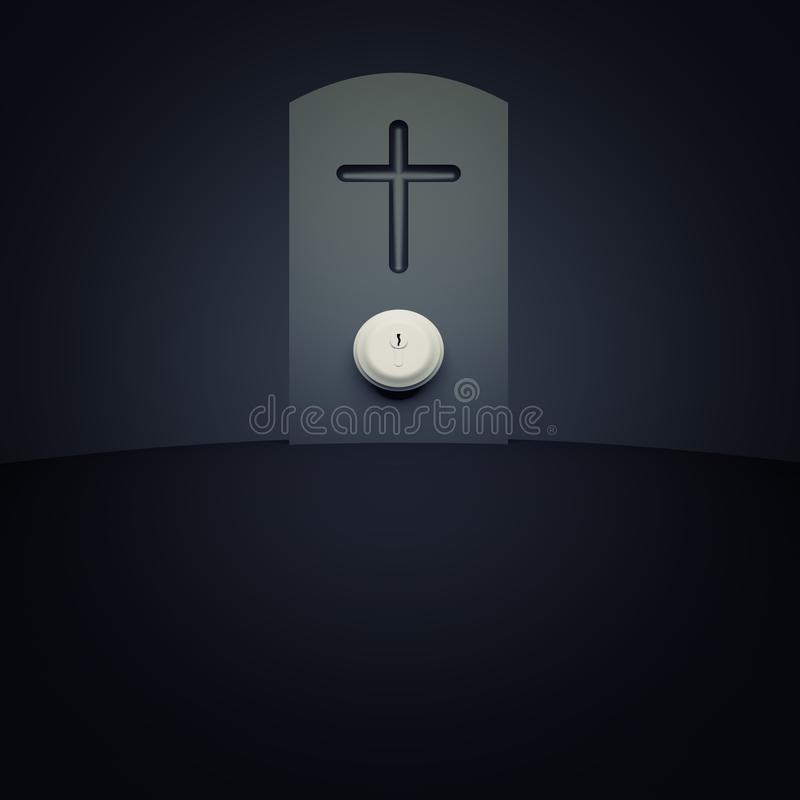 有门把的墓石 向量例证