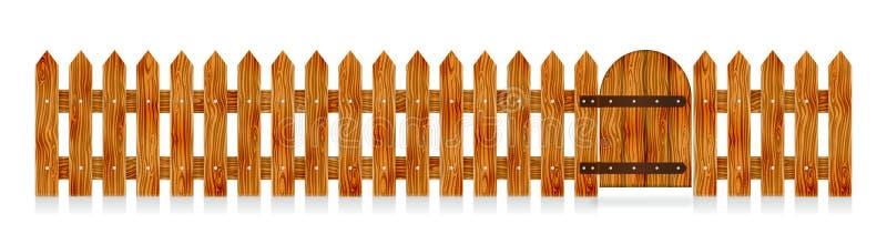 有门的木尖桩篱栅 农村设计的元素 外籍动画片猫逃脱例证屋顶向量 向量例证