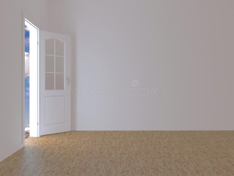 有门的空的室开放对蓝天 免版税库存图片
