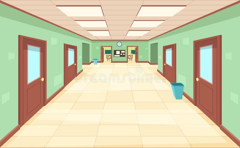 有闭合和开门的空的走廊 学校、学院或者大学的内部 库存例证