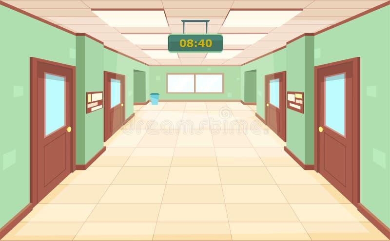 有闭合的门和窗口的空的走廊 内部大走廊学校、学院或者大学 库存例证