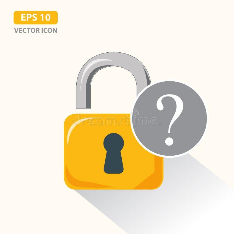 有问号的挂锁 忘记了密码概念 r 皇族释放例证