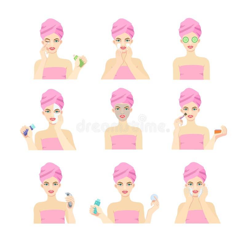 有问题皮肤的一个女孩照看面孔并且适用于不同的面具 库存例证