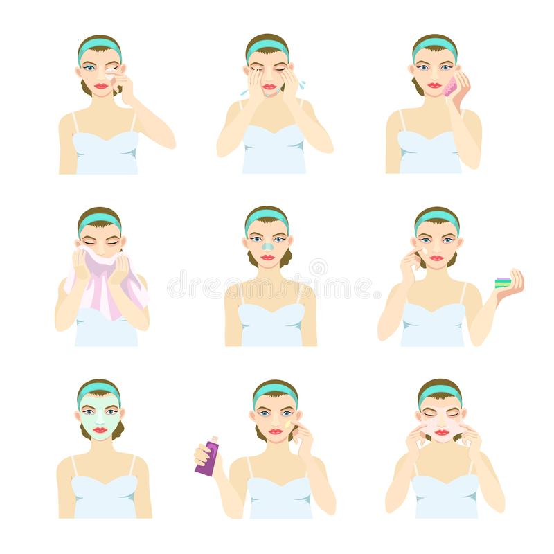 有问题皮肤的一个女孩照看面孔并且适用于不同的面具 向量例证