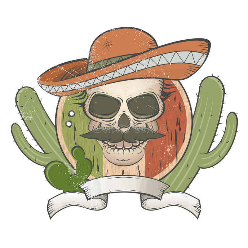 有阔边帽和髭的葡萄酒墨西哥头骨 库存例证