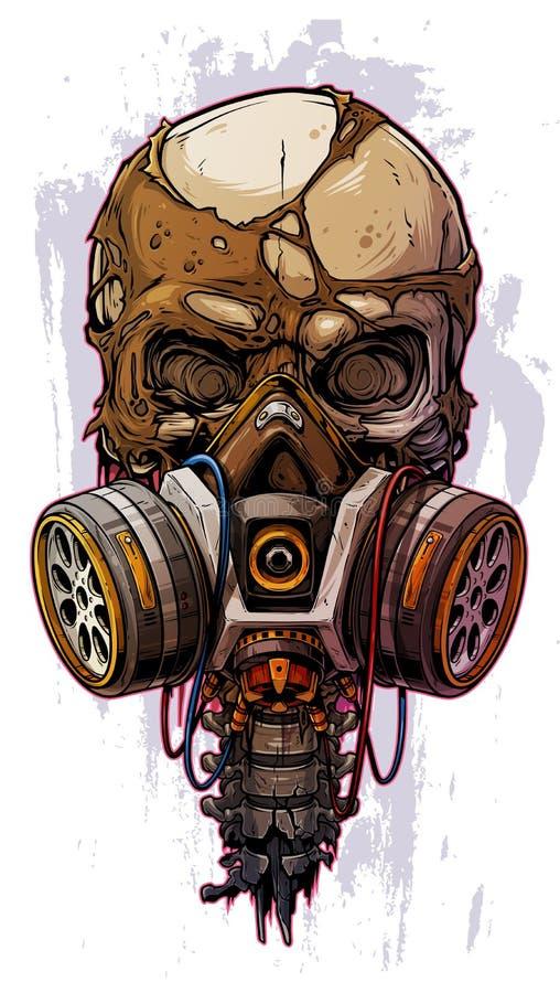 有防毒面具的详细的五颜六色的人的头骨 向量例证