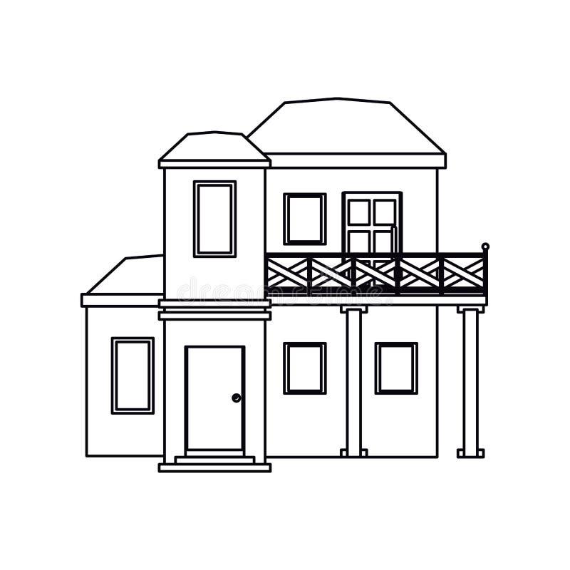 有阳台屋顶平台概述的议院 向量例证