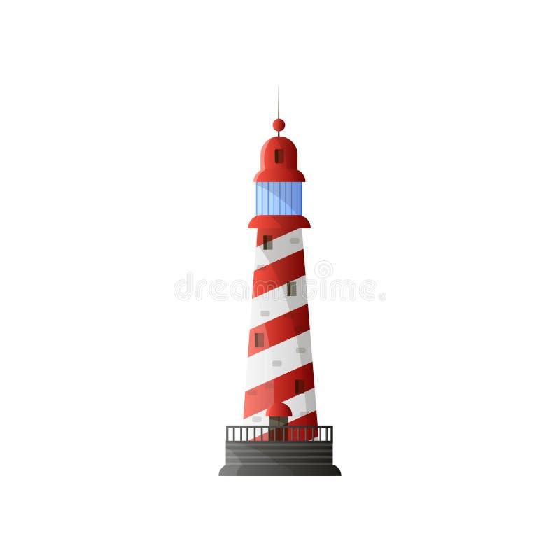 有阴影、红色对角条纹和灰色基础的白色圆锥形灯塔在平的设计 皇族释放例证