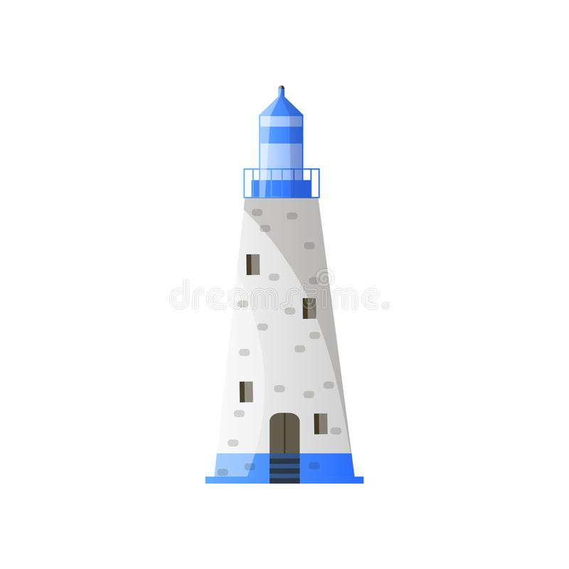 有阴影、蓝色屋顶和宽基础的白色圆锥形灯塔在平的设计 库存例证