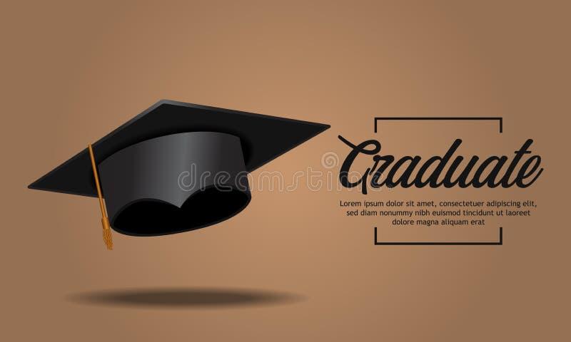 有阴影的教育概念毕业派对横幅现实盖帽 皇族释放例证