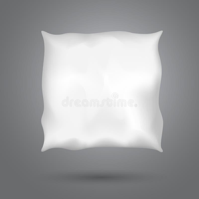 有阴影的方形的枕头在永远深灰背景,健康睡眠 皇族释放例证