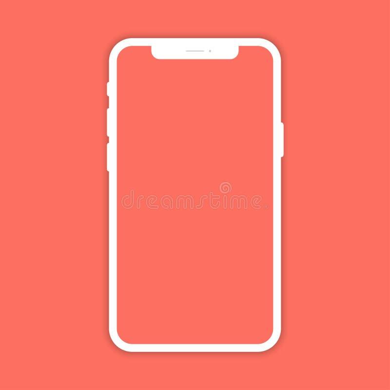 有阴影的白色手机在珊瑚颜色背景 在平的设计的智能手机 皇族释放例证
