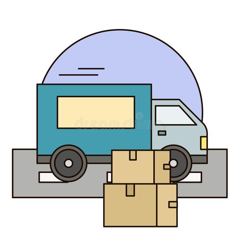 有阴影的白色送货车和在城市背景的纸板箱 快速的服务卡车 库存例证