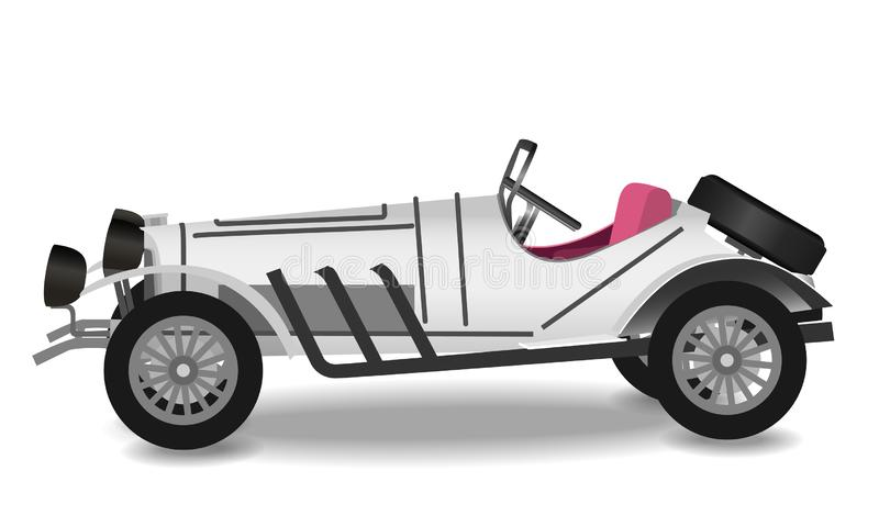 有阴影的葡萄酒汽车在白色背景 库存例证