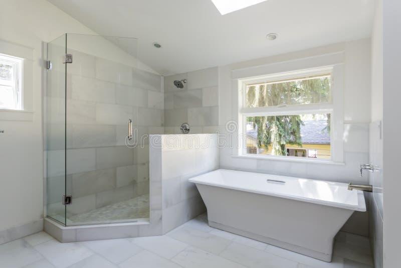有阵雨和浴缸的现代卫生间 库存照片