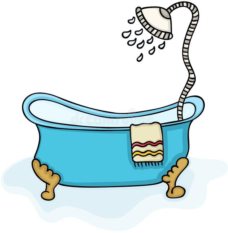 有阵雨的浴缸 库存例证