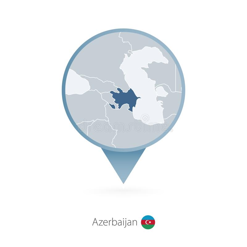 有阿塞拜疆和邻国详细的地图的地图别针  向量例证