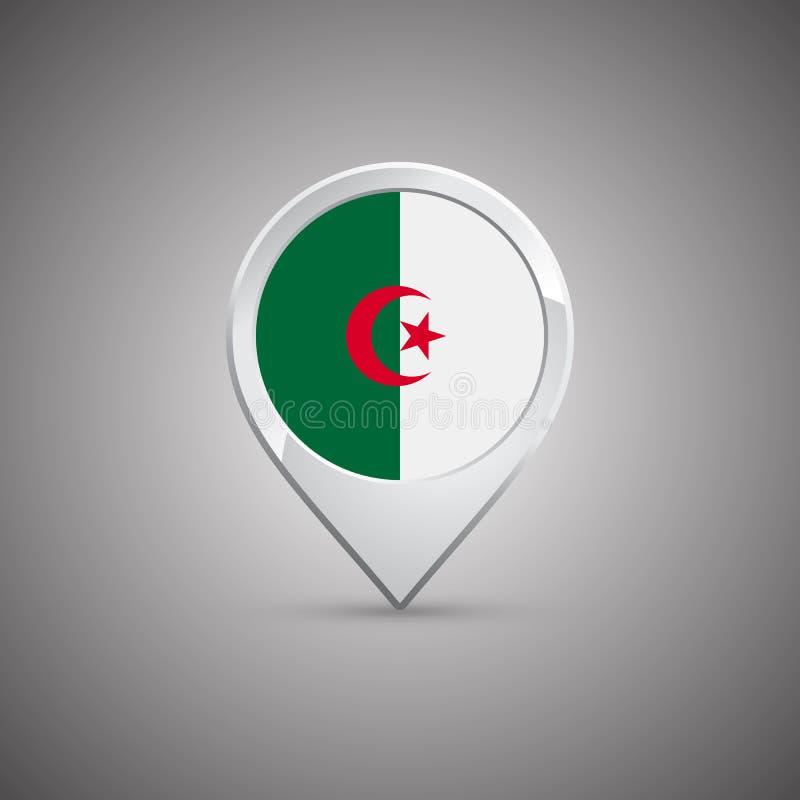 有阿尔及利亚的旗子的圆的地点别针 库存例证
